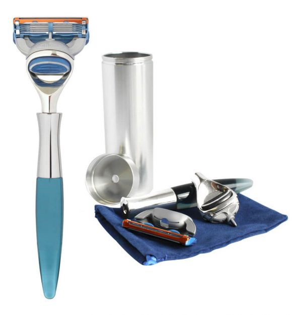 eshave 5 blade travel razor blue