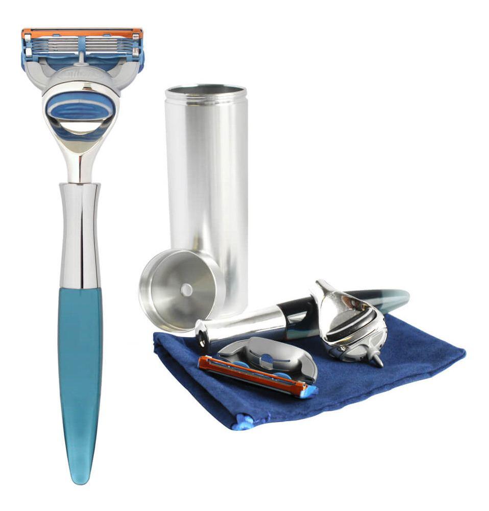 eshave 5 blade travel razor blue