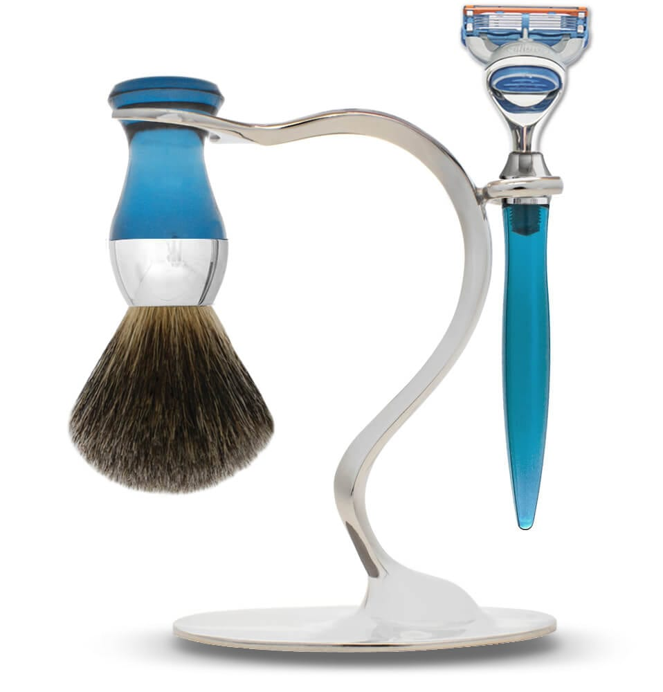 eshave shaving brush s stand set limited edition blue