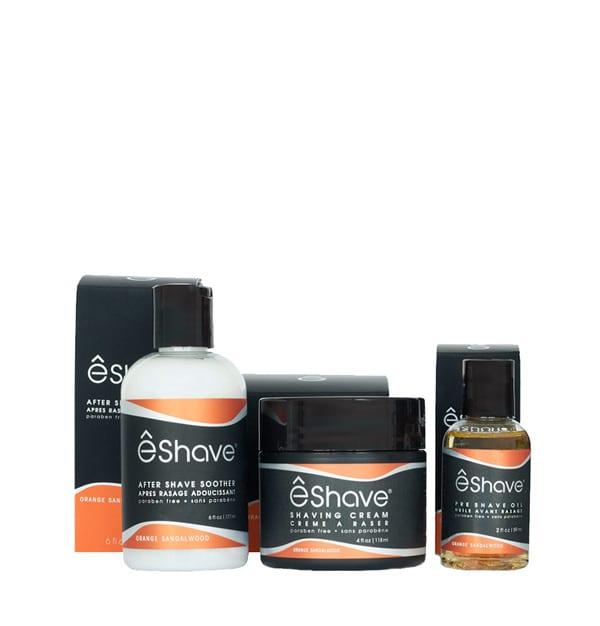 eshave shaving product set orange sandalwood boxed