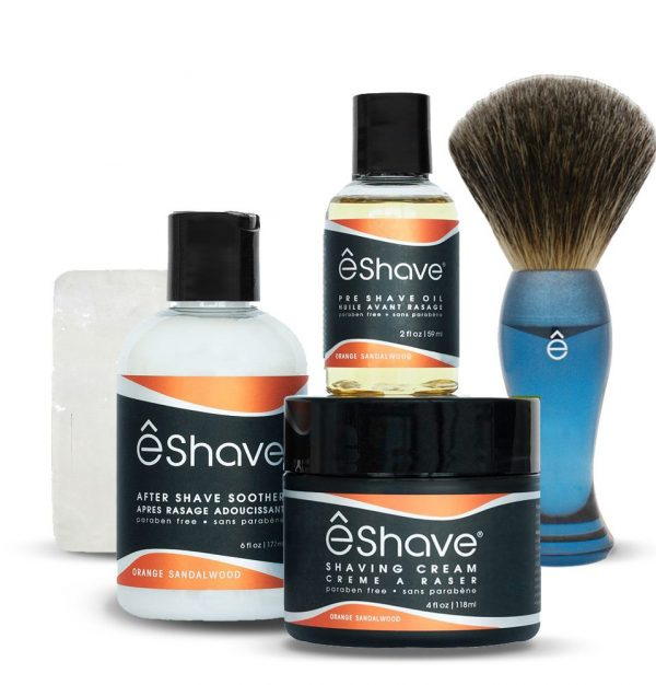 eshave basic shaving kit for men orange sandalwood with blue brush