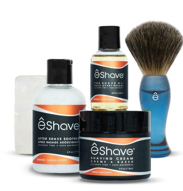 eshave basic shaving kit for men orange sandalwood with blue brush